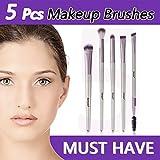 Ensemble de pinceaux de maquillage pour les yeux Anmyox, pinceaux à sourcils cosmétiques synthétiques Kabuki de qualité supérieure Kit de pinceaux de maquillage (5 pcs)