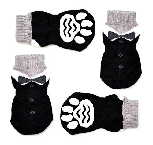 (Posch Noppen Knit Socken für Haustiere mit Traction Sohle für Innen-Wear, Rutsch auf Pfotenschutz, S, Schwarz)