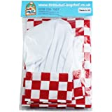 Childrens Kitchen Cooking Fun Checked Chefs Hat & Apron Sets in Various Colours (Red Check 8-10 years 64cm x 48cm)