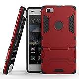 Huawei P8 Lite Coque, MHHQ 2 en 1 Nouveau Armour style robuste hybrides double couche Armure Defender TPU + PC Hard coques Case Cover avec kickstand support [antichoc coque] pour Huawei Ascend P8 Lite -Red