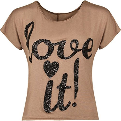 ... Schulter-Oberseiten-Frauen Sleeveless Weste 36-42 Mokka. F & F Damen- Funkeln-Druck-T-Shirt Ernte-Aus Schulter