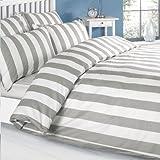 Louisiana Bettwäsche Bettbezug Grau & weiß 100% Baumwolle 200 Fadenzahl Kissenbezug Bettdecke 140x200 cm + 1 x Kopfkissenbezug