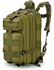 35L Mochila Multifunción Nylon Impermeable Camping Excursionismo Mochila de viaje (Color : Ejercito verde)