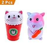 rosybeat 2PCS Jumbo Squishies Kawaii Carrot Hamster Cream /Cat Coffee Cup Squishies Cream Scented Stress Relief Kawaii Toys squishy Jumbo Toys for Kids and Adult