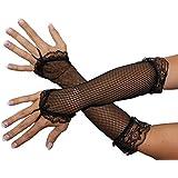 Foxxeo 10304 | Netzhandschuhe Handschuhe Netz schwarz Lang Fingerling Finger Handschuh Fingerlos