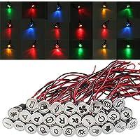 ZHFENG Universal precableado 12V 24V 36V 10 mm a prueba de agua Dash Panel LED de advertencia de metal ligero indicador de la lámpara Herramienta de procesamiento de accesorios para má (Color : #6)