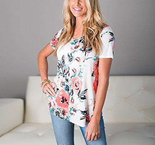 Yieune T-Shirt Damen Sommer Kurzarm Tops Blumen Kaufen Tops Rundhals Strand Schöne Print Shirts Weiß-Grün
