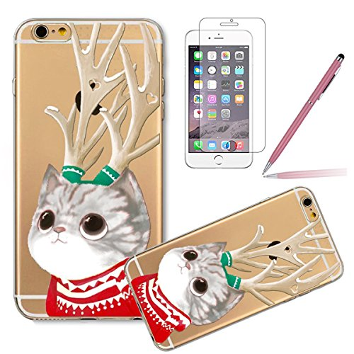Felfy - Coque pour iPhone 6,iPhone 6S Coque Silicone Etui Transparent Housse Slim,iPhone 6S Silicone Coque Série de Noël Cadeau Coque Case Cover étui de protection Housse Cristal dur Silicone Cover Tr Antlers Chat