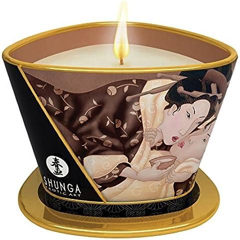 Shunga Vela de Masaje Excitation, Aroma de Chocolate, Color Blanco - 170 ml