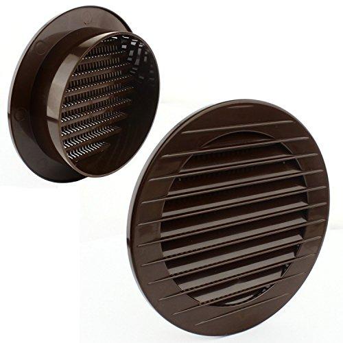 MKK - 18500 - Lüftungsgitter rund Ø 100 mm Insektenschutz Abschlussgitter ABS Kunststoff witterungsbeständig L2 Braun