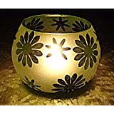 Hare Krishna Decor Green Glass Votive Tealight Candle Holder