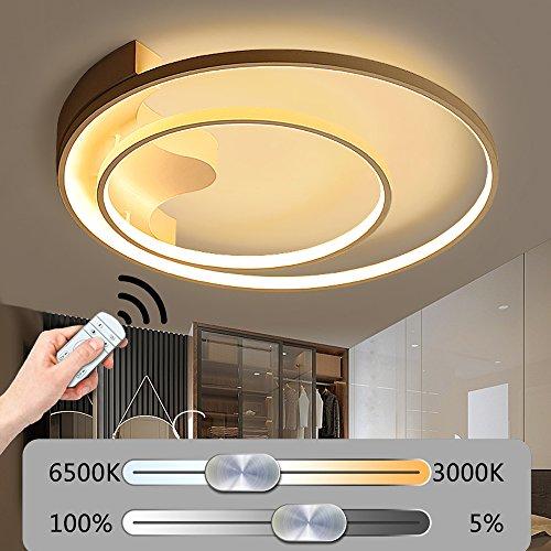 Modern LED Rund Deckenleuchte Stufenlos Dimmbar Deckenlampe mit Fernbedienung 2 Ringe Kreative Deckenbeleuchtung Weiß Acrylschirm Design Minimalistischen Wohnzimmerleuchte Schlafzimmerleuchte Dekoration (39W-Ø40CM)