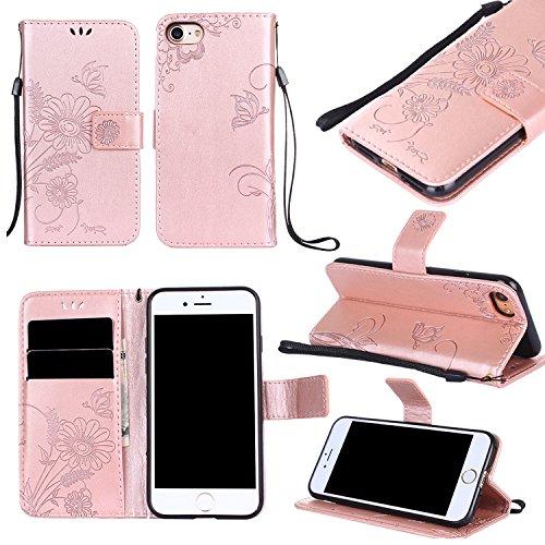 Prime Verkauf Tag Deals week-iphone 8PLUS/iPhone 7Plus Wallet Schutzhülle aus Leder cover-pu geprägt Blumen ANT Kartenhalter Ständer Magnetverschluss Handschlaufe iPhone 8 rose