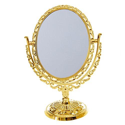 DDU Make up Kosmetikspiegel European Style Desktop zweiseitig Oval Archaistic Swivel Europäischer...