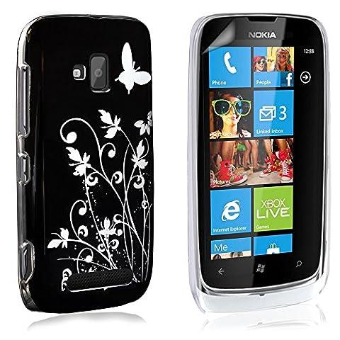 Yousave Accessories NO-KA01-Z102 Coque + Film de protection pour Nokia Lumia 610 Floraux Papillon Noir/Argent