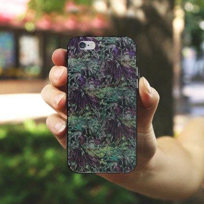 Apple iPhone X Silikon Hülle Case Schutzhülle BARRE NOIRE Blumen dschungel Silikon Case schwarz / weiß