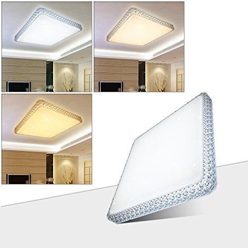 HG® 60W LED Deckenleuchte Wandlampe Farbwechsel Deckenlampe 3in1 Kristall Deckenbeleuchtung Eckig Lampe Wohnraum Esszimmer Badlampe Wand-Deckenleuchte Starlight Effekt schön Decken Energiespar Abstrahlwinkel 120° Dekor