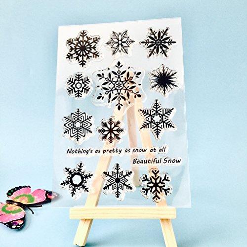 ECMQS Snowflake DIY Transparente Briefmarke, Silikon Stempel Set, Clear Stamps, Schneiden Schablonen, Bastelei Scrapbooking-Werkzeug
