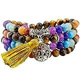 mookaitedecor Tibétain Mala Bracelet 108 Perles Pierres Élastique Collier Bouddhistes 7 Chakra,Oeil de Tigre