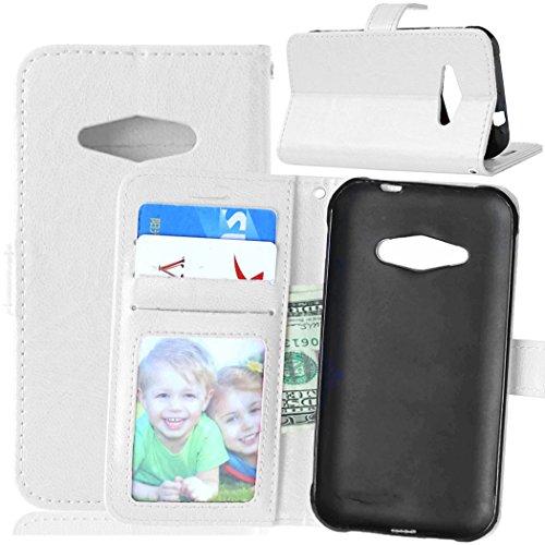 zl one Telefono Caso per Samsung Galaxy J1 Ace J110M J110F J110G J110L J111F,PU Custodia in Pelle 3 Carte Slot Credito Flip Cover Case Chiusura Magnetica-Bianco