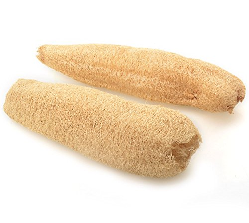 Todo Natural Loofah Exfoliante Baño Ducha Corporal Esponja Scrubber 10 pulgadas Loofa orgánica Luffa Baño Limpiar Tazón Plato de lavado de múltiples funciones, paquete de 2