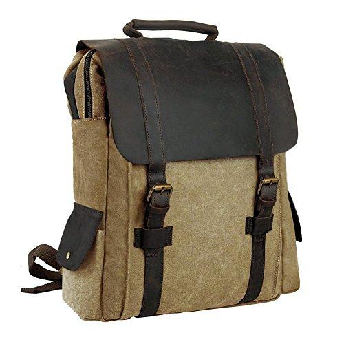 Canvas Rucksack, P.KU.VDSL 15 zoll Laptoprucksack Wanderrucksack Vintage Canvas Leder Schultasche Reisetasche Daypacks Backpack für Uni Outdoor Sports Freizeit (B - Khaki)