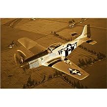 Cuadro sobre lienzo 60 x 40 cm: P-51D Mustang de Scott Germain / Stocktrek Images - cuadro terminado, cuadro sobre bastidor, lámina terminada sobre lienzo auténtico, impresión en lienzo
