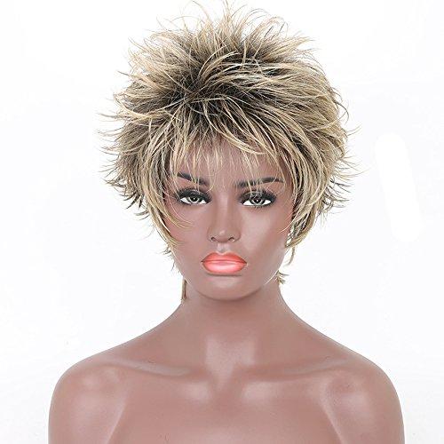 Stilvolle Shaggy blond und schwarz gemischt kurz Frauen Perücke (Shaggy-halloween-kostüm)