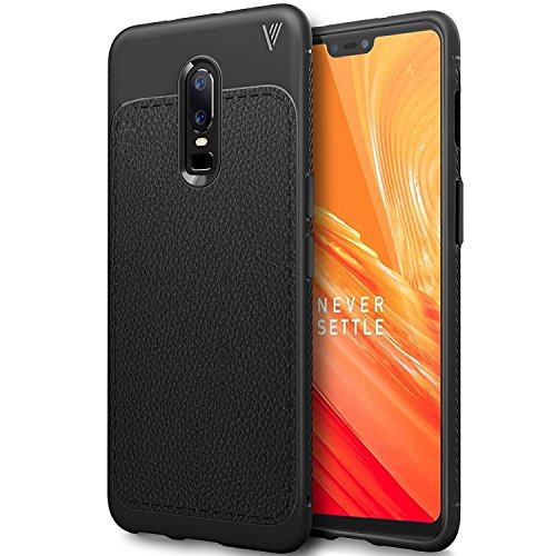 OnePlus 6 Case Cover, Protexz ANTI DROP With Screen And Camara Protection [360 Degree Protection] Premium Leather Texture Rugged Armor Shock Proof TPU Back Case Cover For One Plus 6 (2018) (Black)
