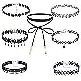 MingJun 7 Stücke Schwarze Samtspitze Choker Halskette Set mit Anhänger Gothic Tattoo Verstellbare Halskette für Damen Teens 90er Jahre