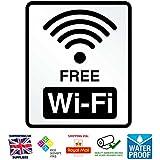 WiFi gratuito adhesivo–Kit de 2x Adhesivo [17cm x 20cm] ideal para café, bar, club, oficina y tienda