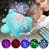 Rvold Infant Baby Sleep Star Projector Lamp Cartoon Airplane Toy with Remote Control