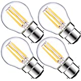 Luohaoshi Dimmable 4-Pack 6W G45 B22 SES LED Filament Mini Globe Bulb Warm White 2700K 60W Incandescent Equivalent Bayonet B22 LED Antique Clear Golf Ball