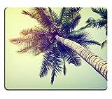 luxlady Mousepads Vintage Nature Hintergrund der Kokosnuss Palme am Strand Blue Sky Bild 37845735Individuelle Art Desktop Laptop Gaming Mauspad