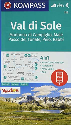 Carta escursionistica n. 119. Val di Sole 1:35.000 Ediz. italiana, tedesca e inglese: 4in1 Wanderkarte 1:35000 mit Panorama und Aktiv Guide inklusive ... in der KOMPASS-App. Fahrradfahren. Skitouren.