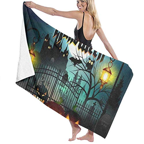 xcvgcxcvasda Serviette de bain, Happy Halloween Bat Pumpkin Personalized Custom Women Men Quick Dry Lightweight Beach & Bath Blanket Great for Beach Trips, Pool, Swimming and Camping 31