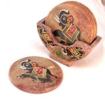 Rajasthan Crafts & Cultures Marble Elephant Design Tea Coasters