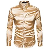 FNKDOR Herren Hemd Slim Fit Langarm Basic Mode Freizeit (46, Gold)