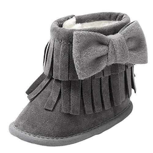 Zapatos de bebé, ASHOP Niña Niño Casuales Zapatillas del Otoño Invierno Suela Deporte Antideslizante del Zapatos Cálidas Bowknot Double-Deck borlas Soft Snow Botas 0-18 Meses (Gris Oscuro,0-6 Meses)