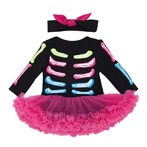 VENI MASEE Baby Mädchen Halloween Outfit Kostüm Skelett Strampler Tutu Rock mit Stirnband Set S-XL (Kostüm Skeleton Boy)
