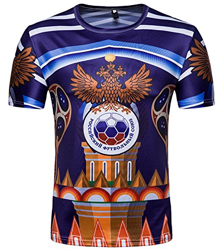 Whatlees Herren Slim Fit FIFA Fussball WM 2018 3D Druck T-Shirt Russland - Ba0043-28 - L