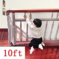 Kalolary Child Safety Rail Net-10ft L x 2.5ft H Indoor Balcony and Stairway Safety Net,Baby Toddlers Kids Pet Banister Stair Net Protector,for Kids/Pet/Toy Safety