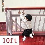 Kalolary Sicurezza bambini Rail Net-10ft L x H 2.5FT Balcone coperta e Stairway Rete di sicurezza, per bambini più piccoli scherza l'animale domestico Banister Stair Net Protector