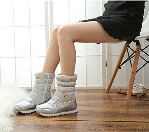 Femmes Toe Round Snow Bottes Chaud Coton Chaud Bottes Confortable Imperméable À L'eau Non-slip Zipper Sport Chaussures En Plein Air Occasionnel Bottes Eu Taille 35-41 Argent