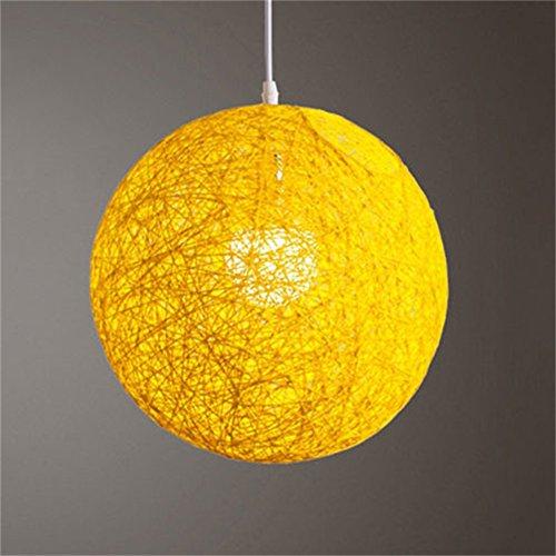 LanLan Lanternes d'extérieur Rond concis tissés à la Main en rotin de Vigne Boule Pendentif Abat-Jour lumière Abat-Jour Accessoires de lumière (15cm de diamètre) Jaune