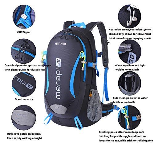Wanderrucksacke, Damen Herren Erwachsene Rucksack Nylon Trekkingrucksack Wasserfest Wandern Klettern mit Regenschutz Schwarz mit blau