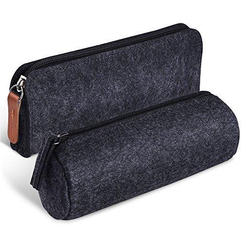 KUUQA Dunkelgrau Filzstift Bleistift Federtasche Schreibwaren Federmappe Stitetasche Tasche Kosmetik Taschen, 2er Set