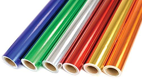 CI metálico con Rollos de Papel de Regalo 6 Colores, 6 Unidades