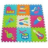 meiqicool Schaumstoff-Spielmatte mit Tier-Motiv, für den Boden, Puzzle, Spielmatten und Fußböden, für Kinder, große Bodenfliesen, 92 x 92 x 1 cm, 9 Stück