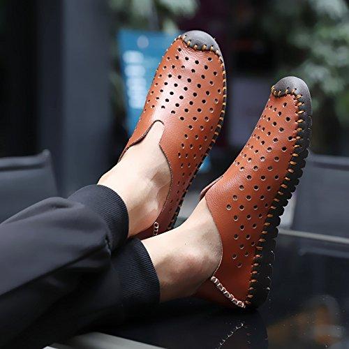 Des Chaussures En Cuir, Respirable, Paresseux, Souliers, Trou De Chaussures, Des Sandales, Des Hommes Est La Marée Brown